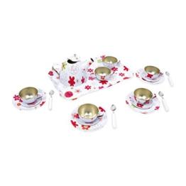"""Small Foot by Legler Teeservice """"Laura"""" aus bunt lackiertem Blech mit Blumenmuster,  21-teiliges Set, tolle Ergänzung zur Kinderküche, ein Traum für jede Puppenmutti ab 3 Jahren"""