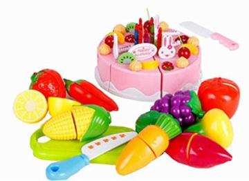 Spielen Sie Lebensmittel Spielen Kitchen Set für Kinder, Obst & Gemüse & Cake