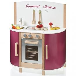 Spielküche Gourmet Station aus Holz Drehknöpfe mit Klackgeräuschen • Kinderküche: H 84cm Holzküche Spielzeugküche Kinderspielküche