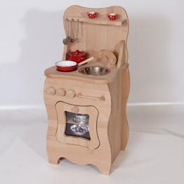 Spielküche Kinderküche 2020 aus massivem Buchenholz natur von Holzspielzeug-Peitz Neu