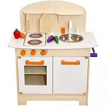 Spielküche aus Holz mit höhenverstellbarer Rückwand, Arbeitshöhe 46 cm: Kinder Spiel Holzküche Kinderküche Holz Spielzeug