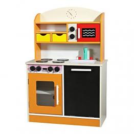 Spielzeug Küche Spielküche Kinder Holz orange Kinderplay Miniküche Holzküche