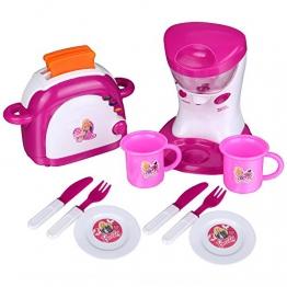 Teamyy Kinderküche Toaster und Mixer Spielküche Set Rosa elektronisch mit Musik und Licht 24pcs Zubehör Spielzeug ab 3 Jahren