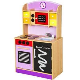 TecTake Kinderküche Spielküche aus Holz lila