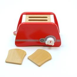 Toaster mit Hebel und Drehschalter mit Klickgeräuschen, inkl. 2 Toastscheiben / Material: Holz / für Kinder ab 3 Jahren geeignet
