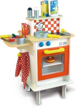 Vilac 8165 - Doppelseitige Holz-Spielküche mit Zubehör