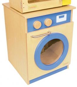 Waschmaschine mit Tür mit Guckloch, 2 Drehknöpfe und Metallgriff / Material: Holz / Maße: 40 x 42,6 x 52 cm / für Kinder ab 3 Jahren