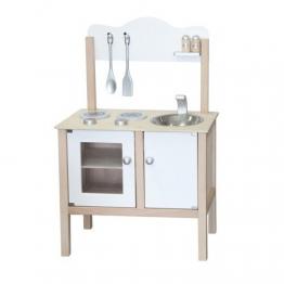 Weisse Spielküche / Material: Holz / Gewicht: ca. 5,95 kg / Maße: 55 x 30 x 80 cm / für Kinder ab 3 Jahren geeignet