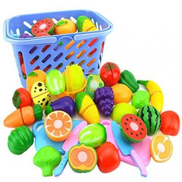 Wolfbush 23pcs Plastik Essen Spielzeug Obst Gemüse Schneiden Spielzeug Plastic Food Toy Fruit Vegetables Cutting Toy Early Development Education Toy for Baby - Farbe zufällig