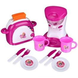 Yoliki Kinderküche Toaster und Mixer Spielküche Set Rosa elektronisch mit Musik und Licht