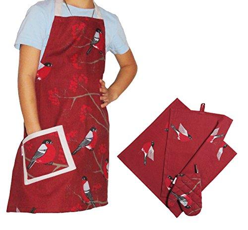 beties Beeren Vögel Kinderkochset (4er Set) 100% Baumwolle für kleine Helfer in der Küche: Schürze, Topfhandschuh, Geschirrtuch & Mitteldecke Farbe (Marsala)