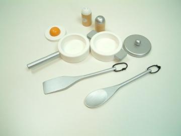 Combi-Küche / Spielküche / Kinderküche in weiss mit Zubehör aus Holz / Maße: 54 x 83,5 x 30 cm – Arbeitshöhe: 48 cm / mit Aufbauanleitung -