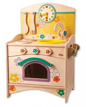 Dida – Kinderküche klein, kompakt, Trio: Spüle, Herdplatten, Backofen – komplette Höhe 57 cm, Höhe bis zur Arbeitsfläche 34 cm, Dekoration: Blumen, Lernspielzeug. -
