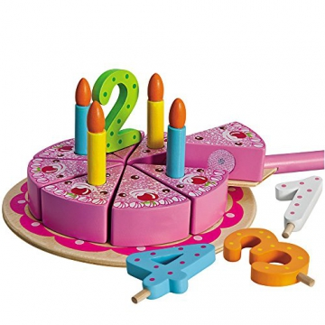 Geburtstagskuchen mit Kuchenplatte, Zahlen und 4 Kerzen, 20cm ø: Spielzeug Holz Kuchen Holztorte Kinderküche Schneide Torte -