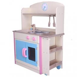 habeig® Kinderküche #797 mit AUSROLLBAREM Tisch Spielküche Küche Holzküche Kinder