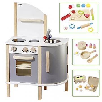 howa Spielküche / Kinderküche aus Holz incl. Topfset, Knetset und Holzeier 14816
