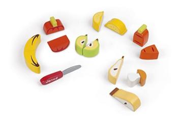 Janod Holzspielzeug – Gemüse Obst Set Schneidebrett Messer – Kinderküche, 25cm, Mehrfarbig -