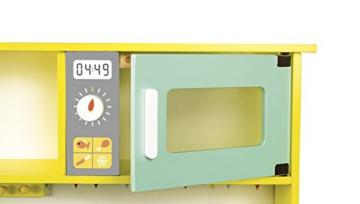 Janod Holzspielzeug – Kinderküche Spielküche Holzküche – Happy Day- Pastelltöne, Mint 55 x 30 x 27cm, Mehrfarbig -