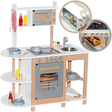 Kinderküche aus Holz (Weiß-Silber) Spielküche für Kinder -