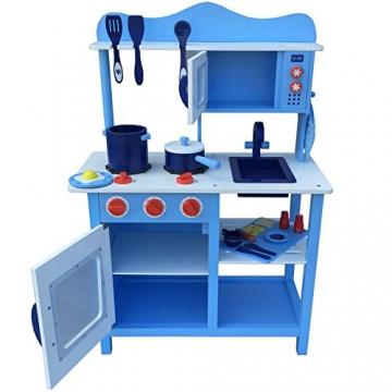 Kinderküche Spielküche BLAU aus Holz Kinderspielküche Spielzeugküche mit Zubehör (blau) -