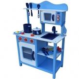 Kinderküche Spielküche BLAU aus Holz Kinderspielküche Spielzeugküche mit Zubehör (blau)