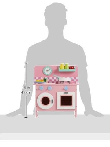 """Legler Küche """"Rosali"""" aus Holz, in pastelligen Farben, mit allerlei Zubehör für realistisches Spielgefühl, kompaktes Design für den Transport geeignet, für  kleinen Köchinnen ab 3 Jahre -"""