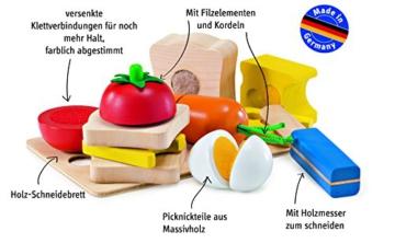 Selecta Spielzeug 1548 – Picknick, Set aus Holz zum schneiden üben und Sandwich bauen -