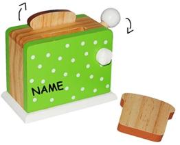Set: beweglicher - Toaster mit 2 Toastscheiben - aus HOLZ - Spiel Küche - Zubehör Deko - Kinderküche - Weißbrotscheiben - Brotscheiben / Frühstück - Küchengerät - Frühstücksset - Kindertoaster - Brot Scheiben