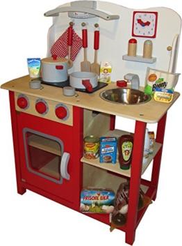 tanner 0342.0 - Kinderküche mit reichlich Zubehör aus Holz, sowie 40 Markenminiaturen, Kaufläden