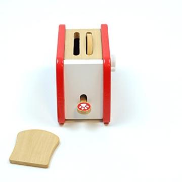 Toaster mit Hebel und Drehschalter mit Klickgeräuschen, inkl. 2 Toastscheiben / Material: Holz / für Kinder ab 3 Jahren geeignet -