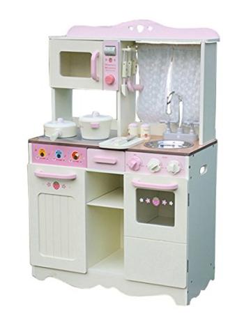 """W10C058B Kinderküche Spielküche """"JULIA"""" aus holz Creme Gross"""
