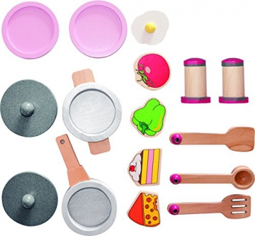 """Woody Holz- Kinderküche """"Buona Cucina"""" mit Zubehör. 17 teilig für Kinder ab 3 Jahren. Safe Toys geprüft -"""